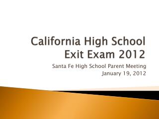 California High School Exit Exam 2012