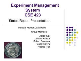 Experiment Management System  CSE 423