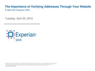 The Importance of Verifying Addresses Through Your Website A Q&A with Experian QAS