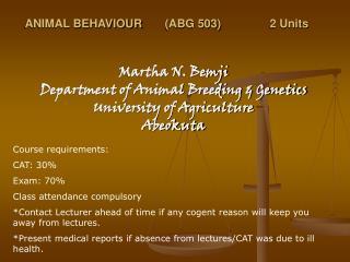 ANIMAL BEHAVIOUR(ABG 503)2 Units