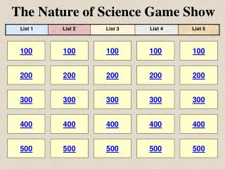 The Nature of Science Game Show