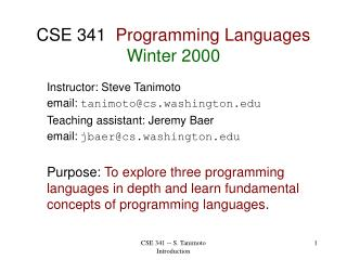 CSE 341   Programming Languages Winter 2000