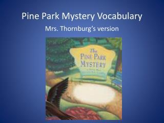 Pine Park Mystery Vocabulary