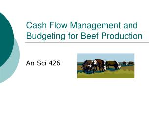 Cash Flow Management and Budgeting for Beef Production