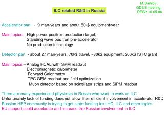 ILC related R&D in Russia