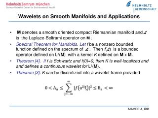 Wavelets on Smooth Manifolds and Applications