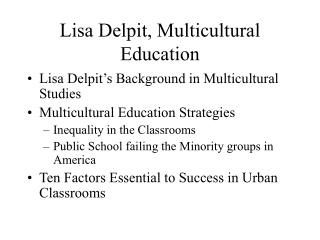 Lisa Delpit, Multicultural Education