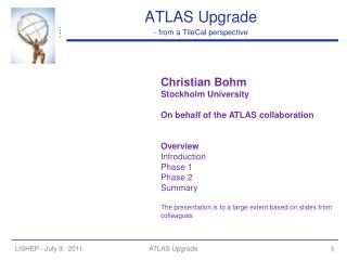 ATLAS Upgrade - from a TileCal perspective