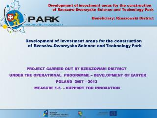 Development of investment  areas  for the  construction