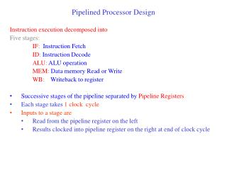 Pipelined Processor Design