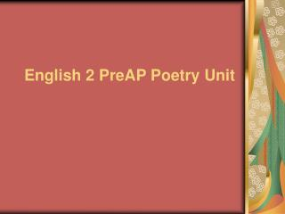 English 2 PreAP Poetry Unit