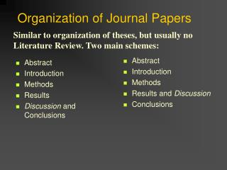 Organization of Journal Papers