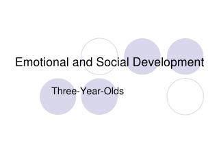 Emotional and Social Development