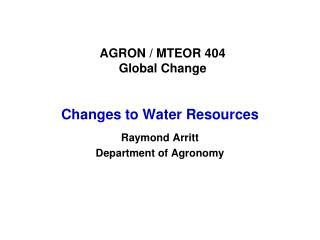 AGRON / MTEOR 404 Global Change