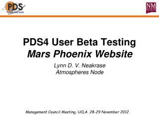 PDS4 User Beta Testing Mars Phoenix Website