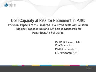 Paul M. Sotkiewicz, Ph.D. Chief Economist PJM Interconnection ICC November 8, 2011