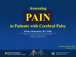 Assessing PAIN in Patients with Cerebral Palsy