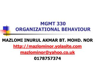 MGMT 330 ORGANIZATIONAL BEHAVIOUR