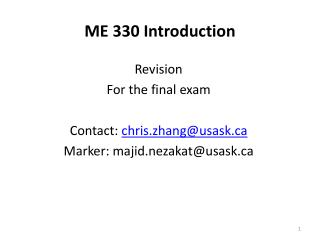 ME 330 Introduction