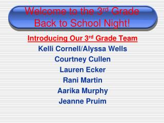 Welcome to the 3 rd  Grade Back to School Night!
