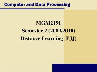 Computer and Data Processing