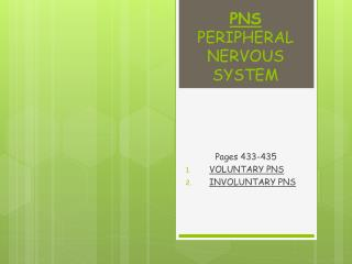 PNS  PERIPHERAL NERVOUS  SYSTEM