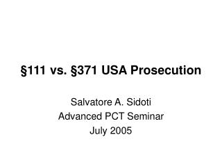 §111 vs. §371 USA Prosecution