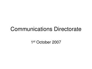Communications Directorate