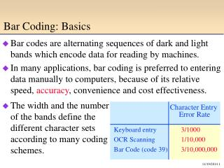 Bar Coding: Basics