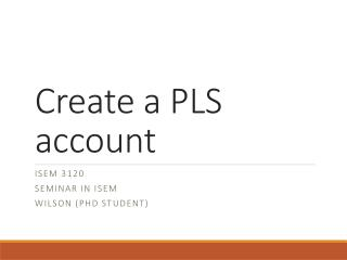 Create a PLS account