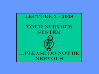 Lecture 3 - 2008 YOUR NERVOUS SYSTEM …please do not be nervous