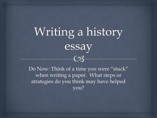 Writing a history essay
