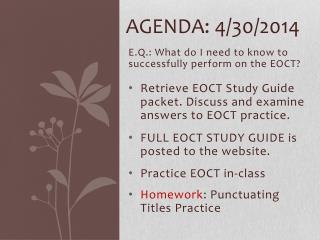 Agenda: 4/30/2014