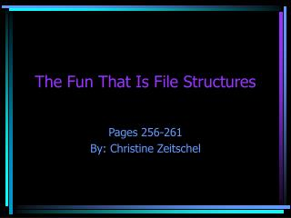 The Fun That Is File Structures