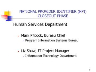 NATIONAL PROVIDER IDENTIFIER (NPI) CLOSEOUT PHASE