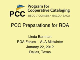 PCC Preparations for RDA