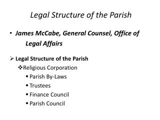 Legal Structure of the Parish