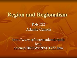 Region and Regionalism