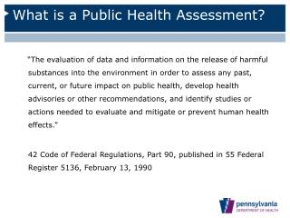 What is a Public Health Assessment?
