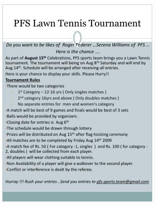 PFS Lawn Tennis Tournament