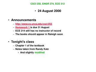 CSCI 255, ENGR 274, ECE 212