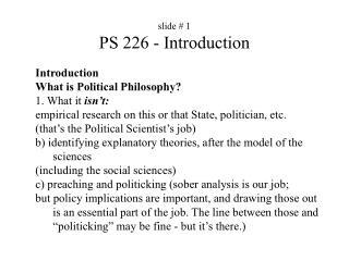 slide #  1 PS 226 - Introduction