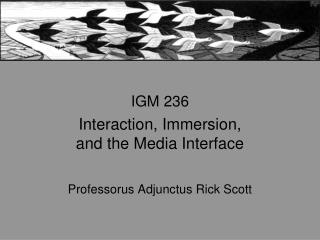 IGM 236 Interaction, Immersion, and the Media Interface Professorus Adjunctus Rick Scott