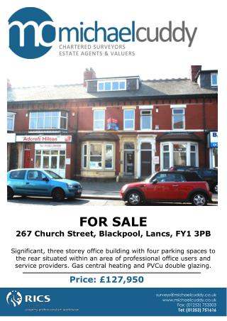 FOR SALE 267 Church Street, Blackpool, Lancs, FY1 3PB