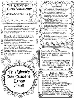 Mrs.  Uebelhardt's  Class Newsletter Week of October  28,  2013