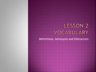 Lesson 2 Vocabulary