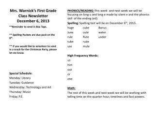 Mrs.  Warnick�s  First Grade Class Newsletter December 6 , 2013