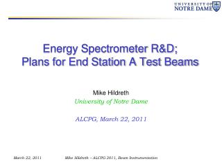 Energy Spectrometer R&D; Plans for End Station A Test Beams
