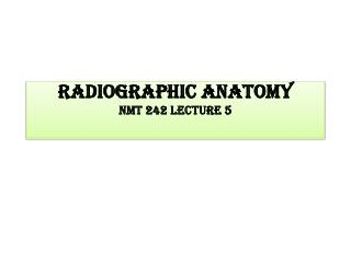 Radiographic Anatomy NMT 242 lecture 5