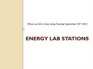 Energy Lab stations